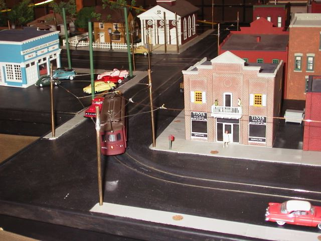 The HO scale trolley layout.