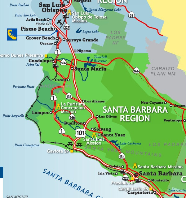 Amtrak Pacific Surfliner To San Luis Obispo Solvang Santa - San luis usa map
