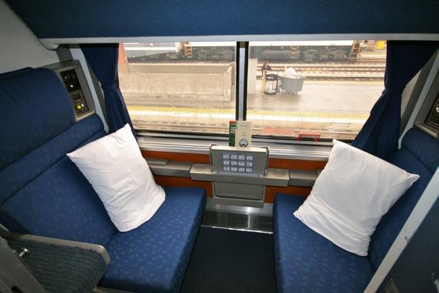 superliner roomette set up for day use. Black Bedroom Furniture Sets. Home Design Ideas