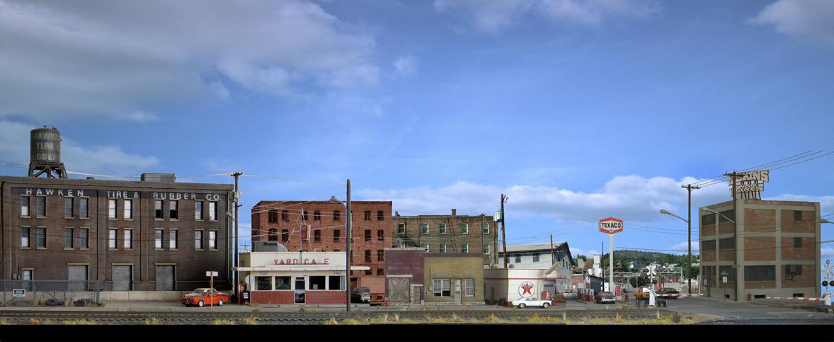 Model railroad backdrop construction