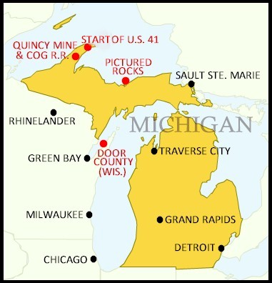Pictured Rocks Michigan Map.Quincy And Torch Lake Cog Railway The Pictured Rocks