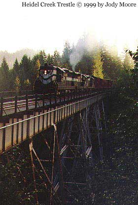Train at trestle near Cochran