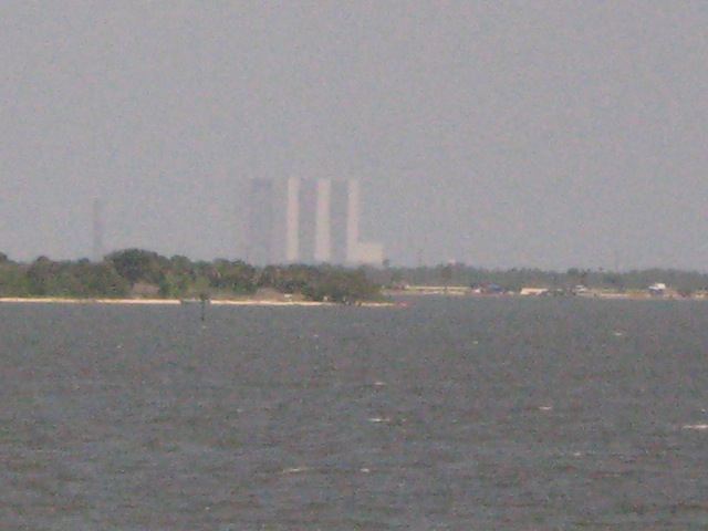 NASA's massive Vehicle Assembly Building seen from the train.